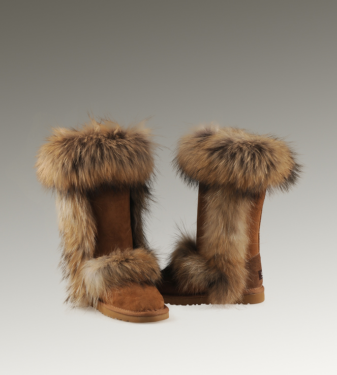 UGG Fox Fur Tall 5815 Chestnut Boots